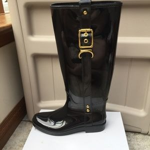 Coach Buckle Rubber Rain Boots